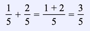 Ejemplo 1. Encuentra la suma de dos fracciones con el mismo denominador: