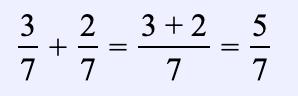 Ejemplo 2. Encuentra la suma de dos fracciones con el mismo denominador: