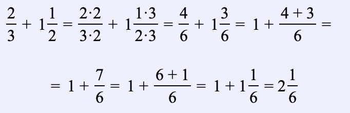 Ejemplo 5. Encuentra la suma de dos números mixtos: