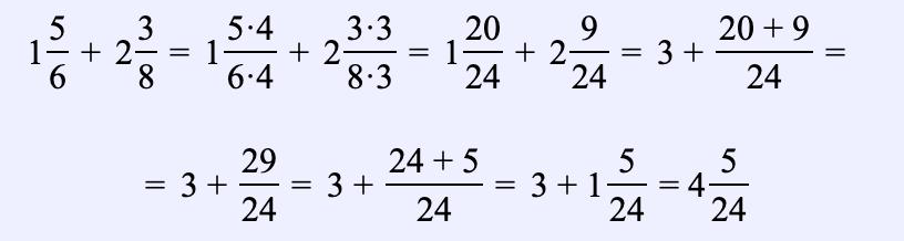 Ejemplo 6. Encuentra la suma de dos números mixtos: