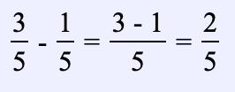 Ejemplos de restar fracciones con el mismo denominador