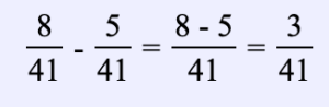 Ejemplo 8. Encuentra la diferencia entre dos fracciones con el mismo denominador: