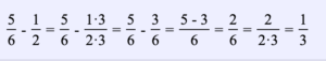 Ejemplo 9. Encuentra la diferencia entre dos fracciones: