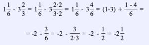 Ejemplo 13. Encuentra la diferencia de dos números mixtos: