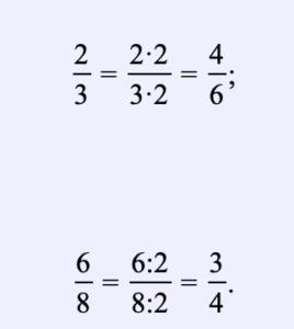 Si el numerador y el denominador de una fracción se multiplican o dividen por el mismo valor distinto de cero, resultará una fracción igual a la dada, aunque las fracciones sean diferentes. Por ejemplo: