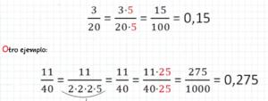 como convertir una fraccion a decimal